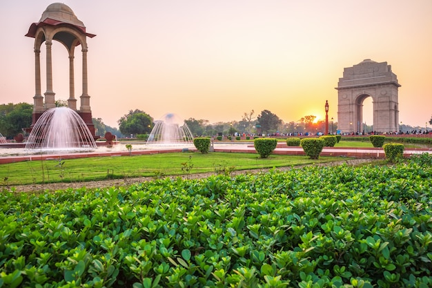 Rajpath sitting park with india gate and the canopy, new delhi, india.