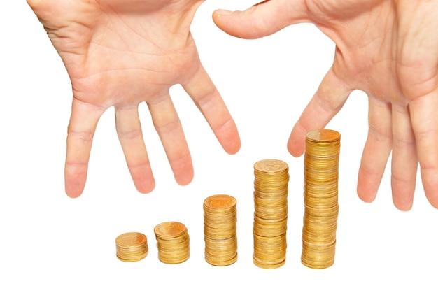 白で隔離のお金の手をかき集めます。