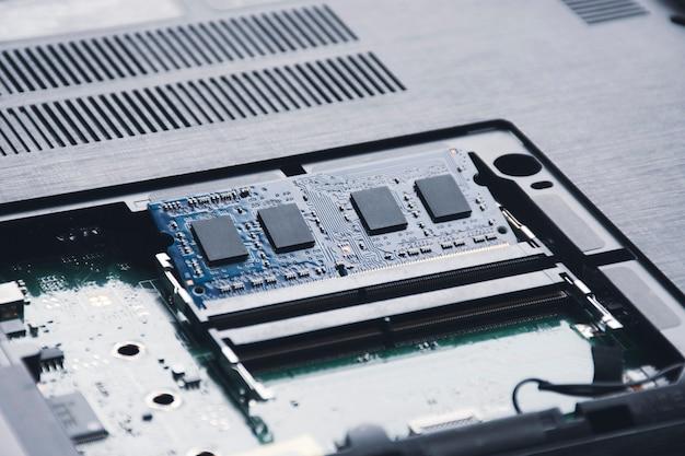 Ram randomaccess memory in memory slot on the motherboard of laptop