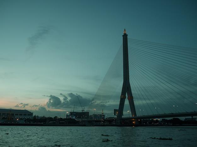 Rama 8 bridge evening landscape on chao pra ya river in bankgkok thailand.