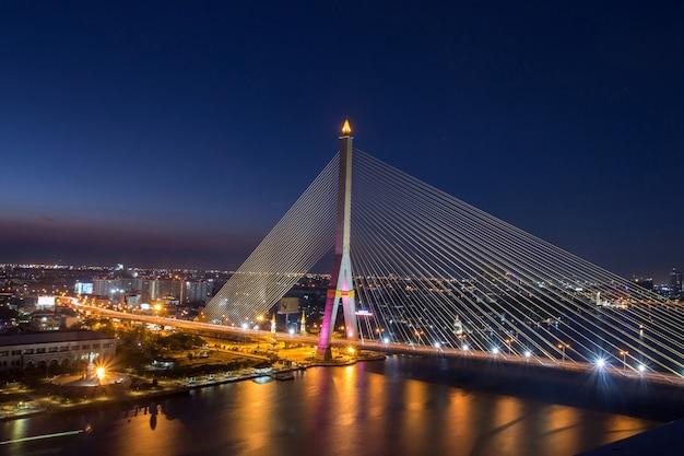 Rama 8 bridge at night in bangkok