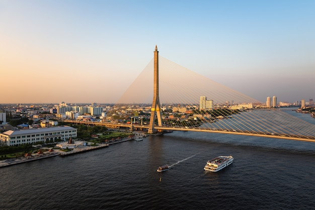 The rama viii bridge is a cable stayed bridge crossing the chao phraya river in bangkok thailand