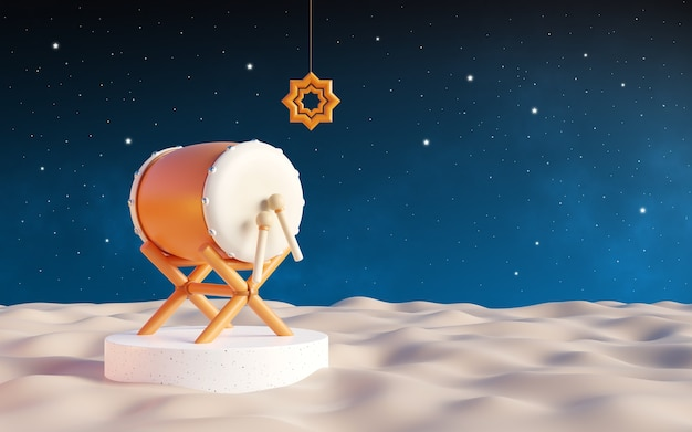 Ramadan background, bedug drum in the desert at night. with a clear sky full of stars. 3d illustration