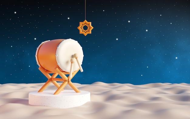 라마단 배경, 밤에 사막에서 bedug 드럼. 맑은 하늘에 별이 가득합니다. 3d 일러스트레이션