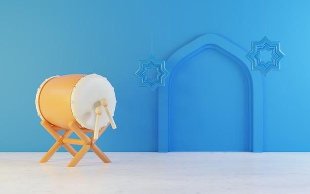 Рамадан фон с барабаном постельного белья, синий фон, область текста с копией пространства, трехмерная иллюстрация