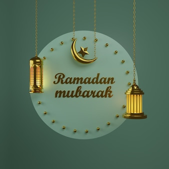 Ramadan concept 2021. crescent moon and hanging lamp gold luxurious crescent. premium