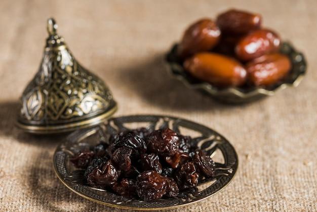 Ramadan concept with dates and raisins