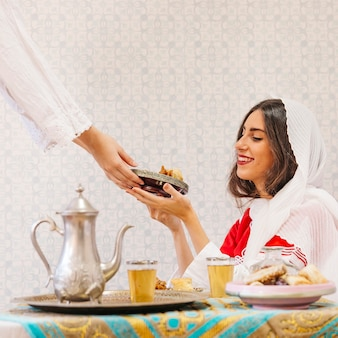 Ramadan concept with food and té