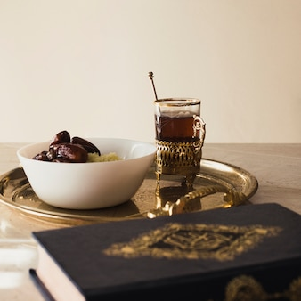 Ramadan concept with quran and dates