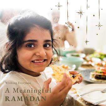 Saluto del mese sacro del ramadan per il post sui social media