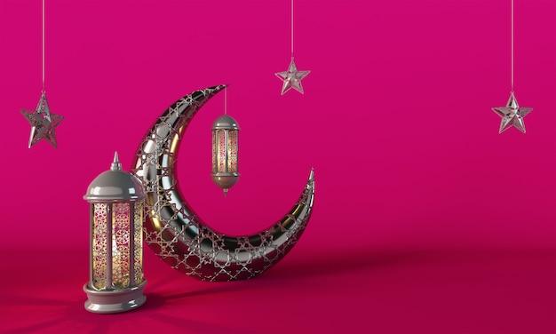 Ramadan kareem crescent moon and lantern lightning pink background
