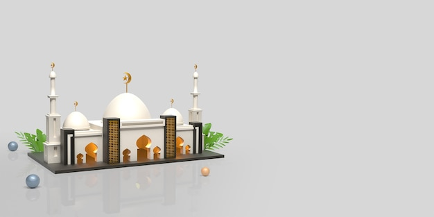 Ramadan kareem islamic decoration background with mosque