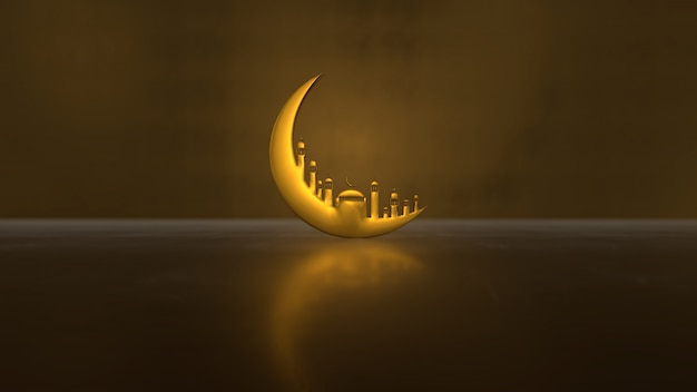 Ramadan kareem with golden moon mosque on light shadow
