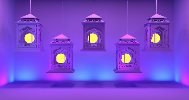 Ramadan lantern background 3d rendering