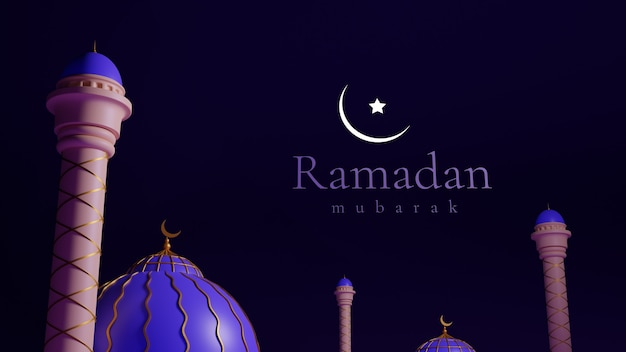 Ramadan mubarak. 3d realistic blue and pink detailed mosque and miner.