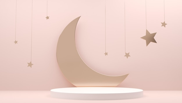 Ramadan mubarak invitation paper cut podium, pedestal with crescent, moon, stars on muslim feast
