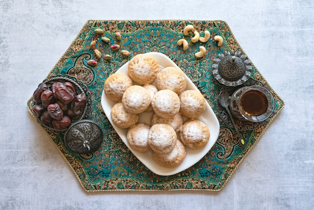 Ramadan sweets with tea and dates