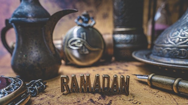 Ramadan with antique collection on old world map