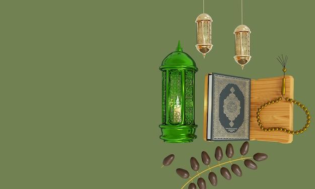 Лампа рамадана с исламскими четками на темном фоне