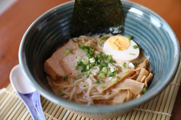 Ramen japanese noodle soup food with noodle pork egg seaweed