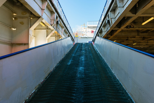 Ramp for loading on and off the vehicles from the car transport ferry