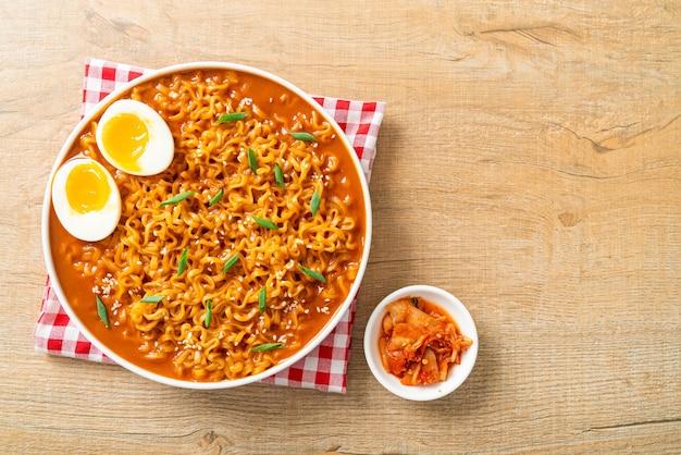 Ramyeon or korean instant noodles with egg - korean food style