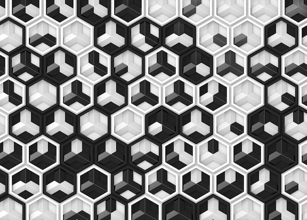 ランダムな黒と白の色の現代の六角形のパターンのパターンの壁の背景