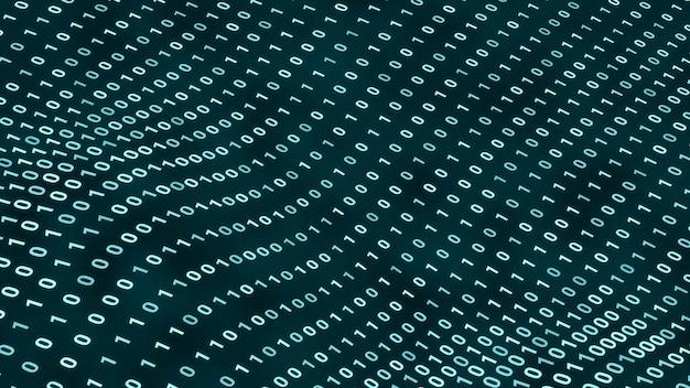 웨이브 배경, 추상 미래 컴퓨터 프로그래밍 코드 기술 사이버 공간 개념 그림에서 이동하는 임의의 디지털 이진 데이터