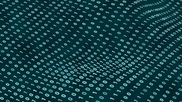 波の背景で移動するランダムなデジタルバイナリデータ、抽象的な未来的なコンピュータプログラミングコード技術サイバースペースの概念図
