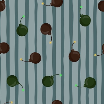 Random green and brown colored bomb silhouettes seamless pattern. blue pale striped background. perfect for fabric design, textile print, wrapping, cover. vector illustration.