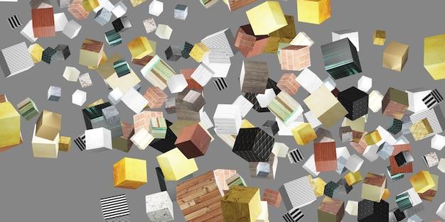 Random pattern texture cube 3d illustration background