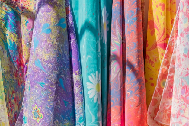 Range of colorful silk  scarfs in the shop.
