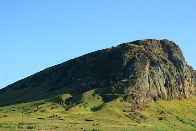 The rano raraku volcano, quarry of moai statue in the ancient time of easter island