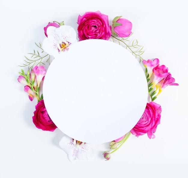 ラナンキュラスの花と蘭