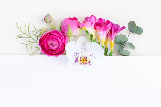 Ranunculus flowers and orchids