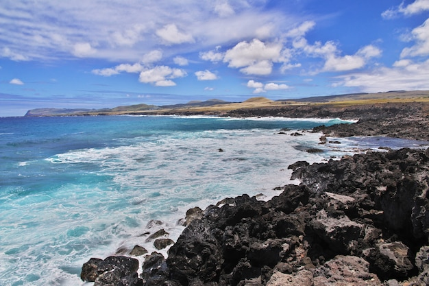 Rapa nui. the view on pacific ocean on easter island, chile
