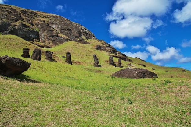 Rapa nui. статуя моаи в рано рараку на острове пасхи, чили