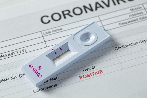 Набор для экспресс-теста на антиген для проверки коронавируса. результат положительный с отчетным документом. ag на covid-19 с назальным экспресс-тестом.