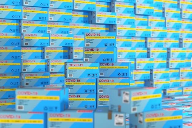 바이러스성 질병 신종 코로나바이러스 covid-19 2019 n-cov 판지 상자 패키지를 위한 신속한 테스트 장치는 배경 극단적인 근접 촬영으로 창고에 쌓입니다. 3d 렌더링