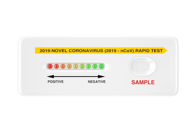 흰색 바탕에 바이러스성 질병 신종 코로나바이러스 covid-19 2019 n-cov에 대한 신속한 테스트 장치. 3d 렌더링