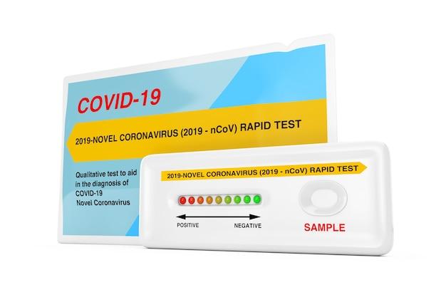 흰색 배경에 패키지가 있는 바이러스성 질병 신종 코로나바이러스 covid-19 2019 n-cov에 대한 신속한 테스트 장치. 3d 렌더링