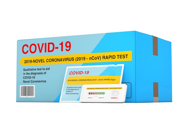 흰색 배경에 종이 팩과 상자 패키지가 있는 바이러스성 질병 신종 코로나바이러스 covid-19 2019 n-cov에 대한 신속한 테스트 장치. 3d 렌더링