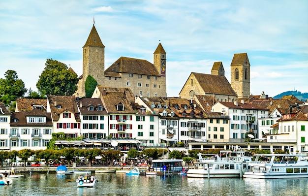 Замок рапперсвиль в рапперсвиль-йона на цюрихском озере в кантоне санкт-галлен, швейцария