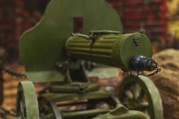 Rare largecaliber machine gun maxim closeup selective focus