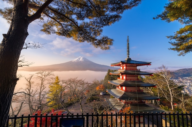 추레 이토 탑과 가을의 아침 안개가있는 후지산의 희귀 한 장면, 일본