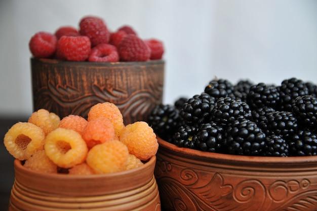 Малина черная, желтая и красная в глиняной посуде на деревянном столе