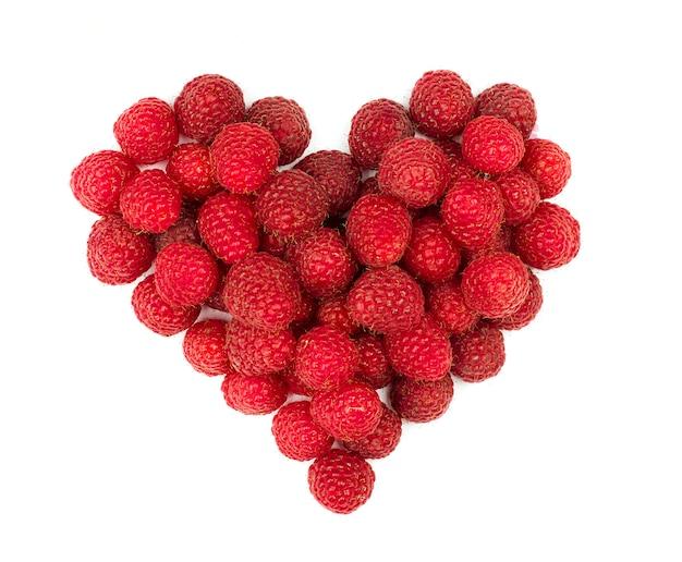 Raspberries fruit heart.