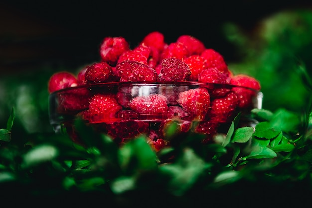 Raspberries in a glass bowl with twigs and leaves on a dark background. healthy fresh, seasonal fruit to eat.