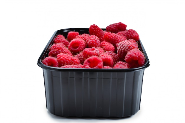 Raspberry in black container isolated on white background.