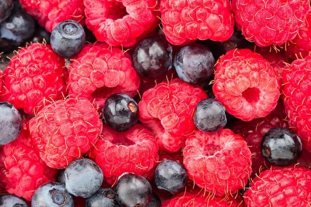 Raspberry and blueberry. fresh organic berries macro.